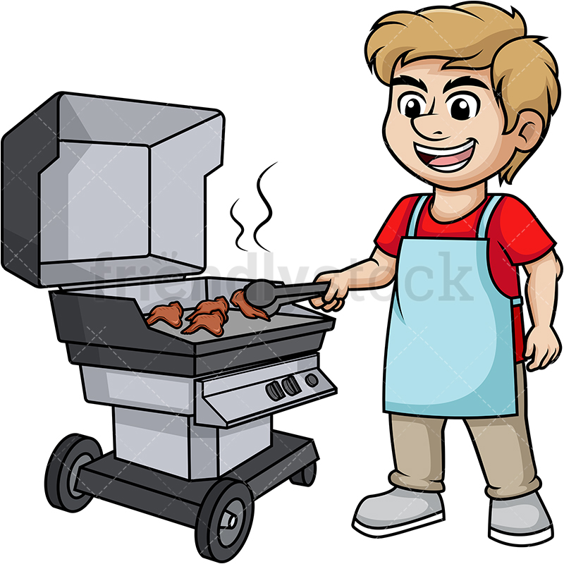 Man Grilling Chicken Wings.