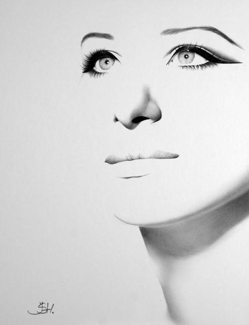 Barbra Streisand Pencil Drawing Fine Art Portrait by IleanaHunter.