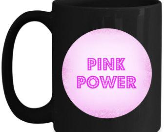 Pink coffee mug.