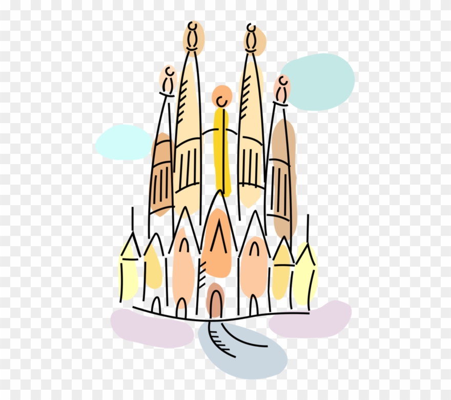 Vector Illustration Of La Sagrada Família Basilica.