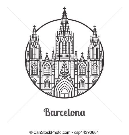 Landmark of Barcelona Icon.