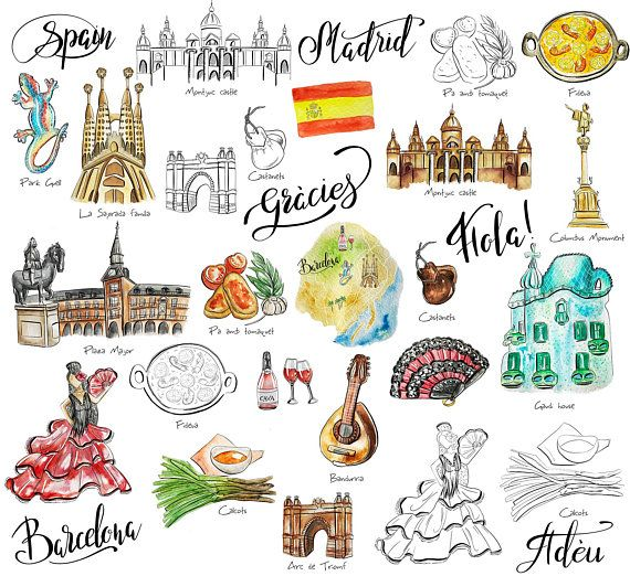 Spain travel stickers Printable Barcelona Madrid digital stickers.