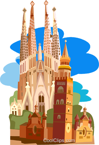 Spain, Barcelona Royalty Free Vector Clip Art illustration.