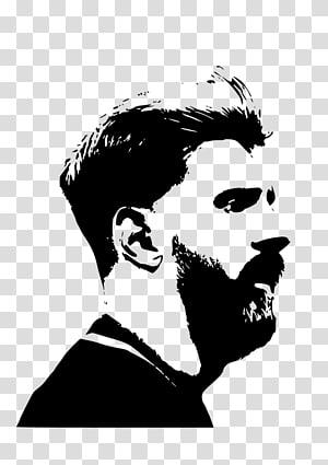 Bearded man stencil portrait artwork, FC Barcelona Messi.