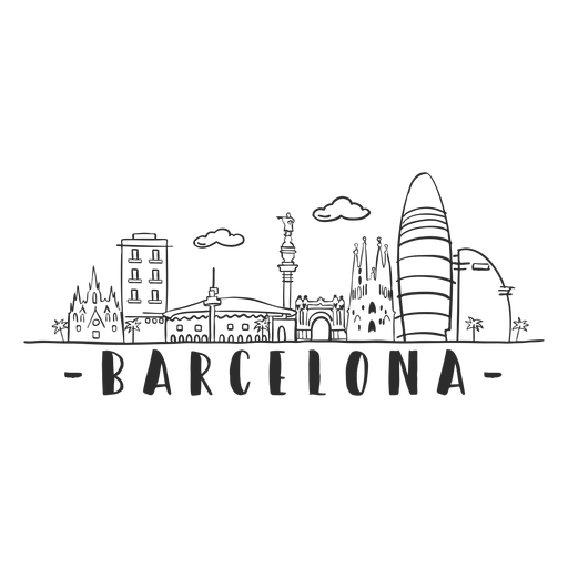 Barcelona monument cathedral arch palm tower castle skyline sticker.