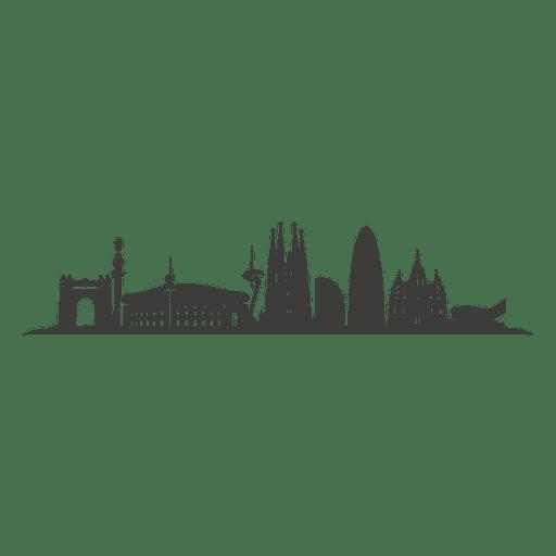 Barcelona skyline silhouette.