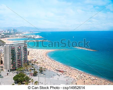 Stock Photography of Barceloneta beach in Barcelona, bird's.