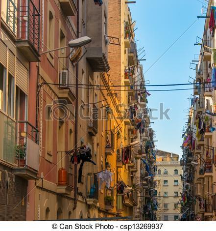 Stock Photos of Beautiful streets of Barceloneta neighbourhood in.