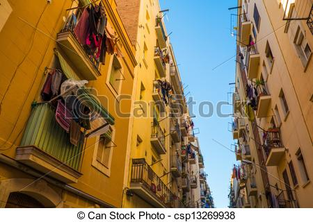 Stock Photos of Beautiful streets of Barceloneta neighbourhood in.