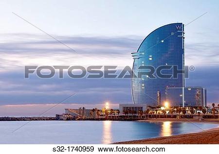 Stock Photograph of sunrise view of W Hotel Barcelona, Barceloneta.