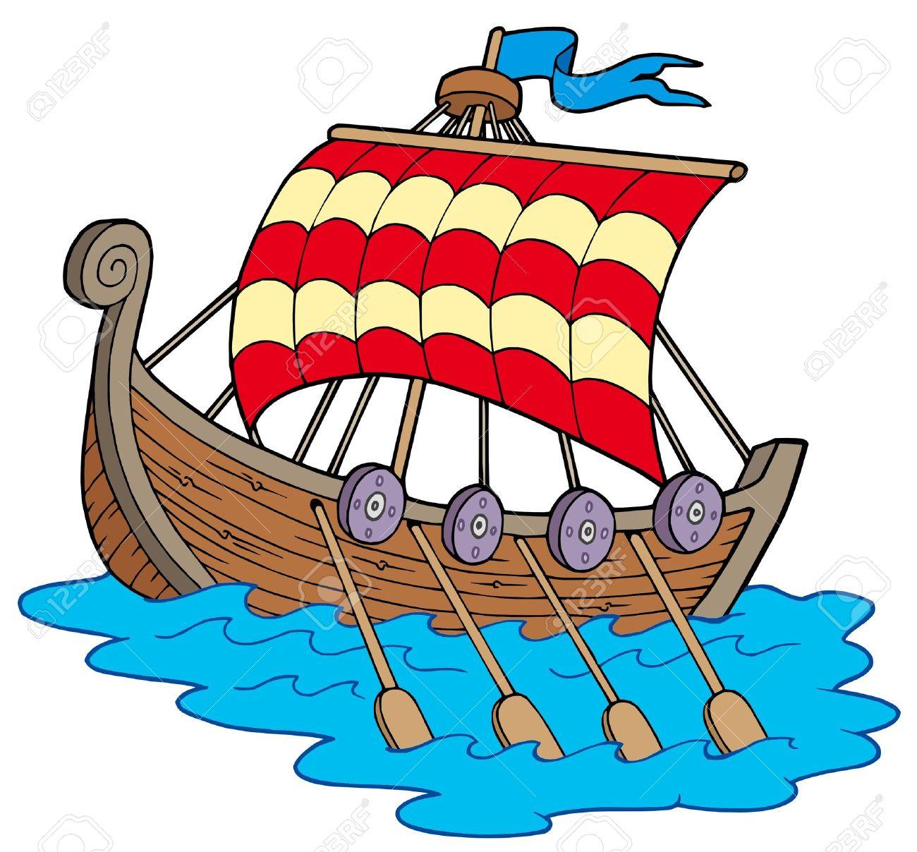Barco Vikingo. Fondo Blanco. Ilustración Vectorial..