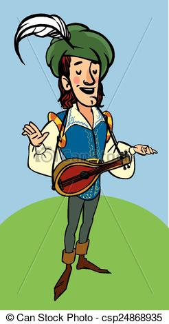 Vectors of Cartoon funny medieval bard with a lute. vector.