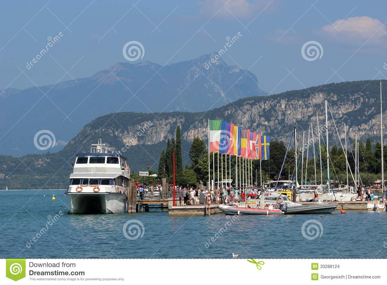 Lake Garda Boat At Pier In Bardolino Italy Editorial Stock Image.