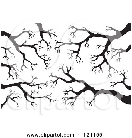 Cartoon of a Background of Black Bare Tree Branches.