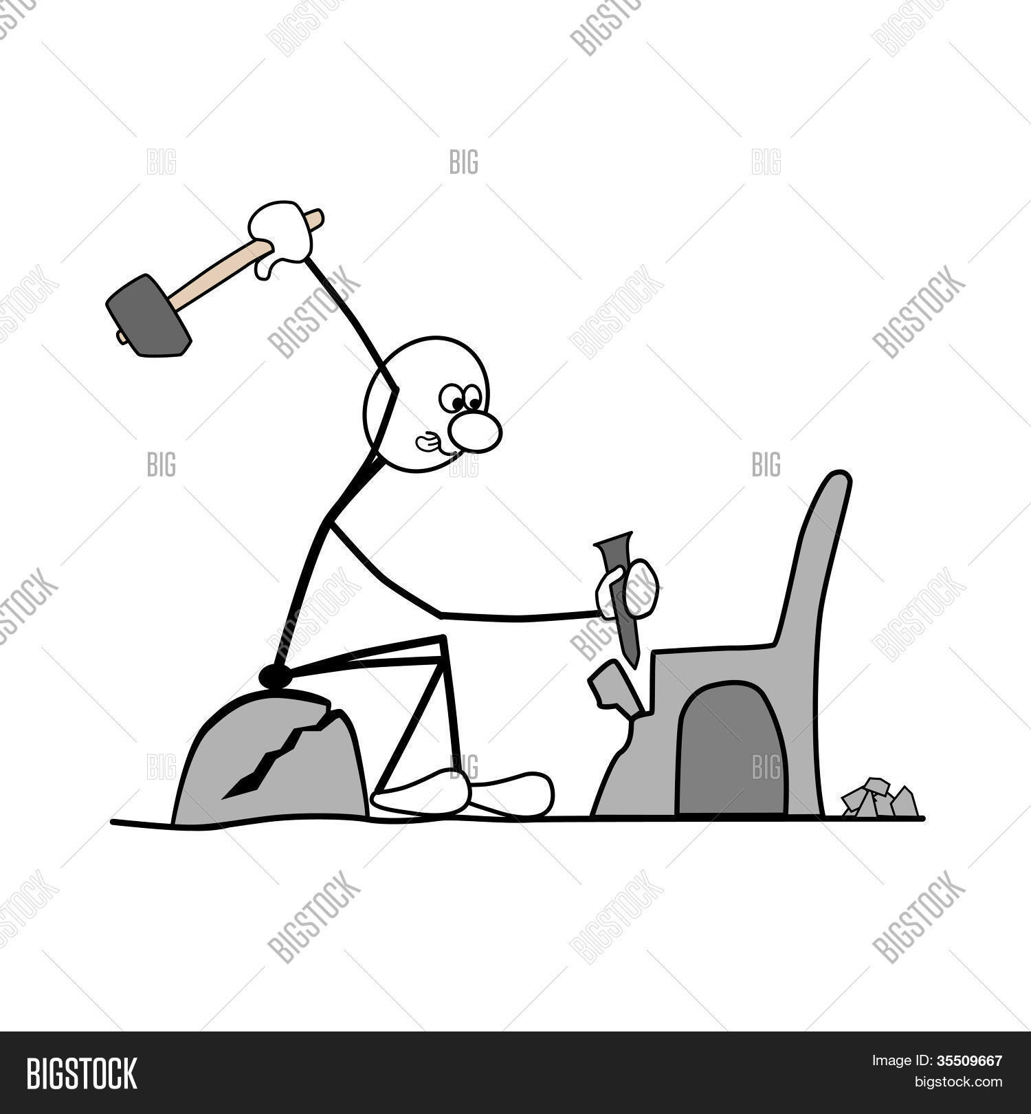 better to make a chair than sitting on the bare rock. Stock Vector.