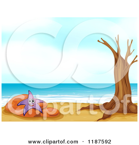 Cartoon of a Happy Purple Starfish on a Rock by a Bare Tree on a.
