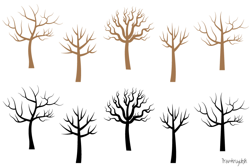 Bare tree silhouette clipart, Leafless tree clip art.
