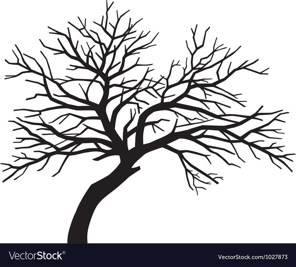 Scary bare black tree silhouette.