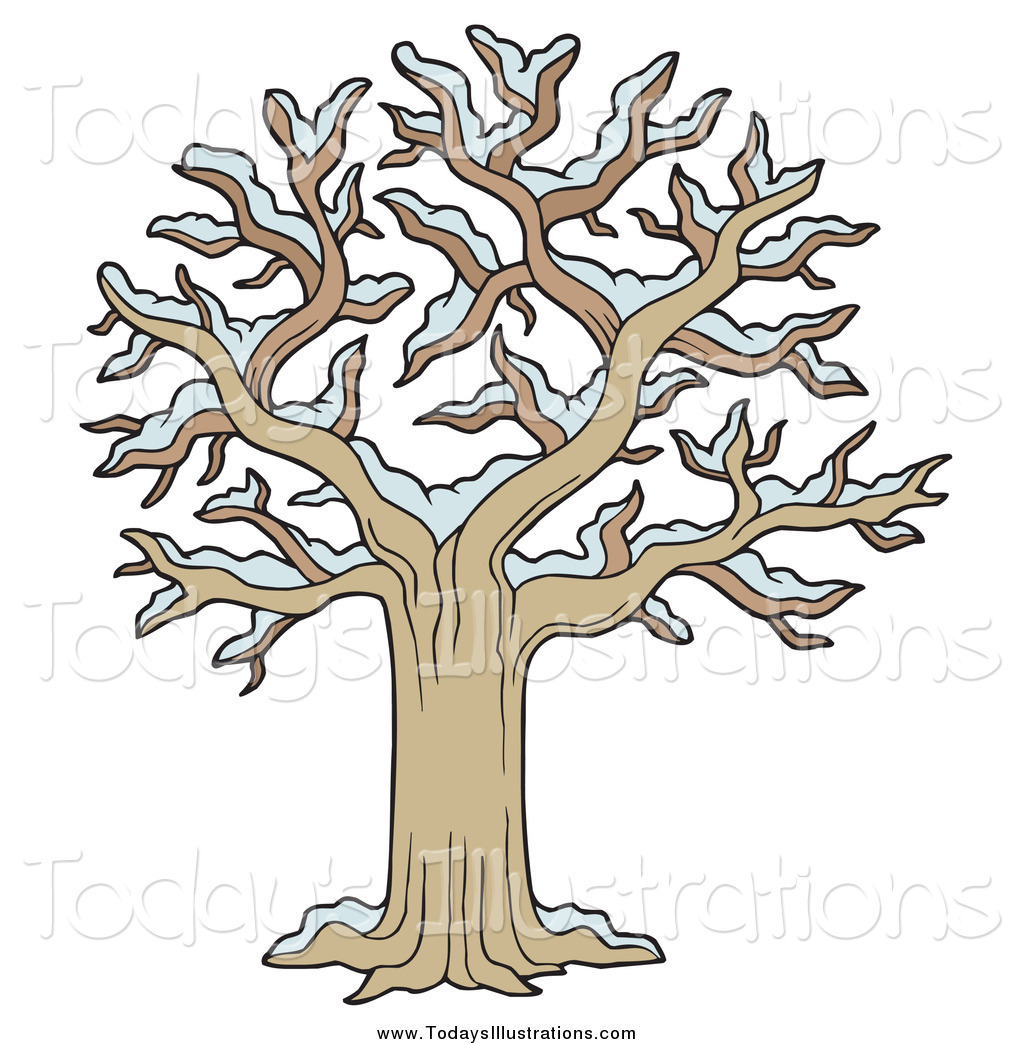 Clipart of a Bare Tree with Snow by visekart.
