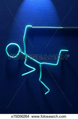 Stock Photo of Falling Stick Figure Barely Holding On x75056264.