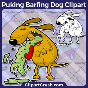 Cartoon Barfing Puking Dog Clipart.
