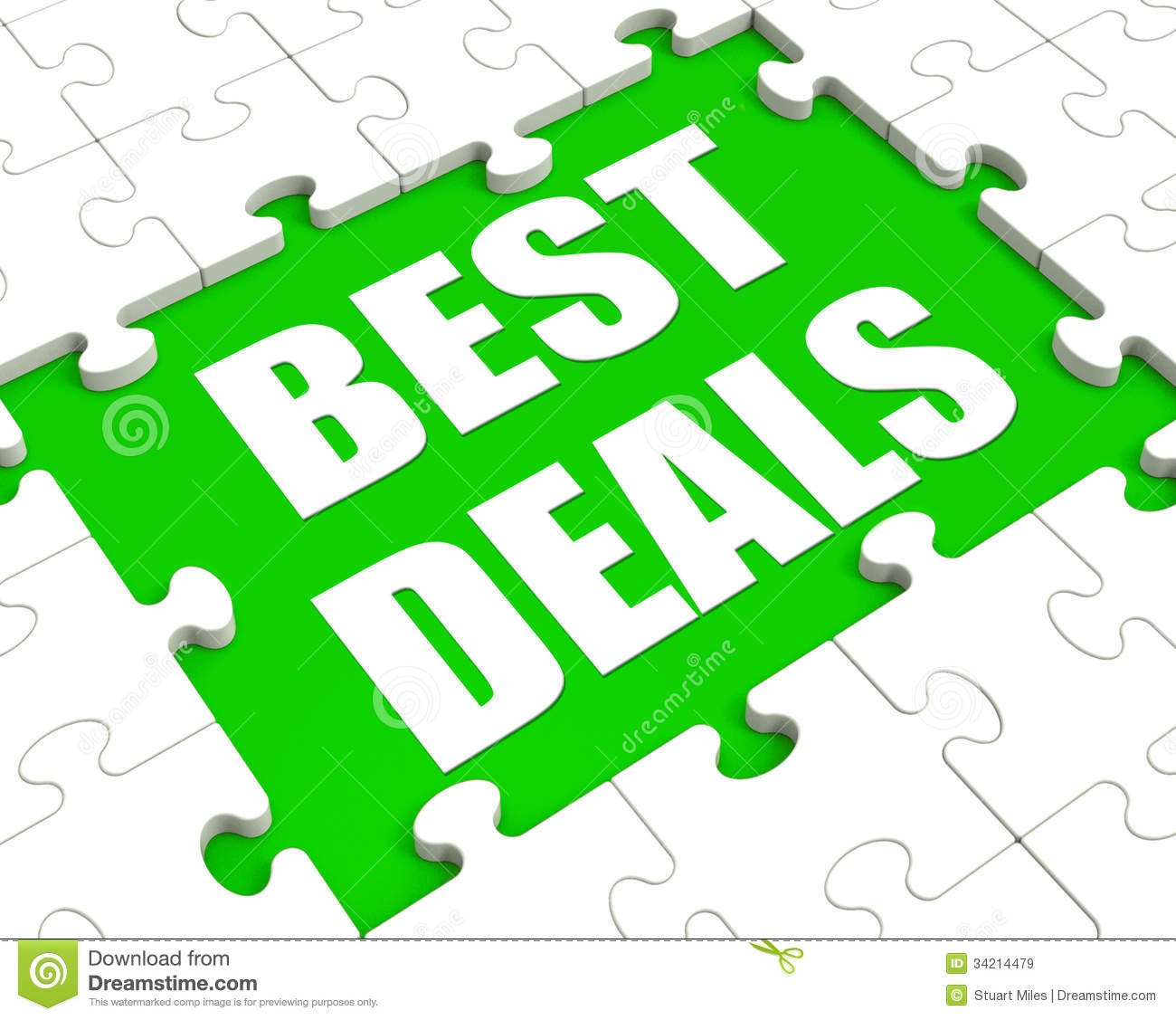 Best Deals Puzzle Shows Great Deal Promotion Or Bargain Royalty.