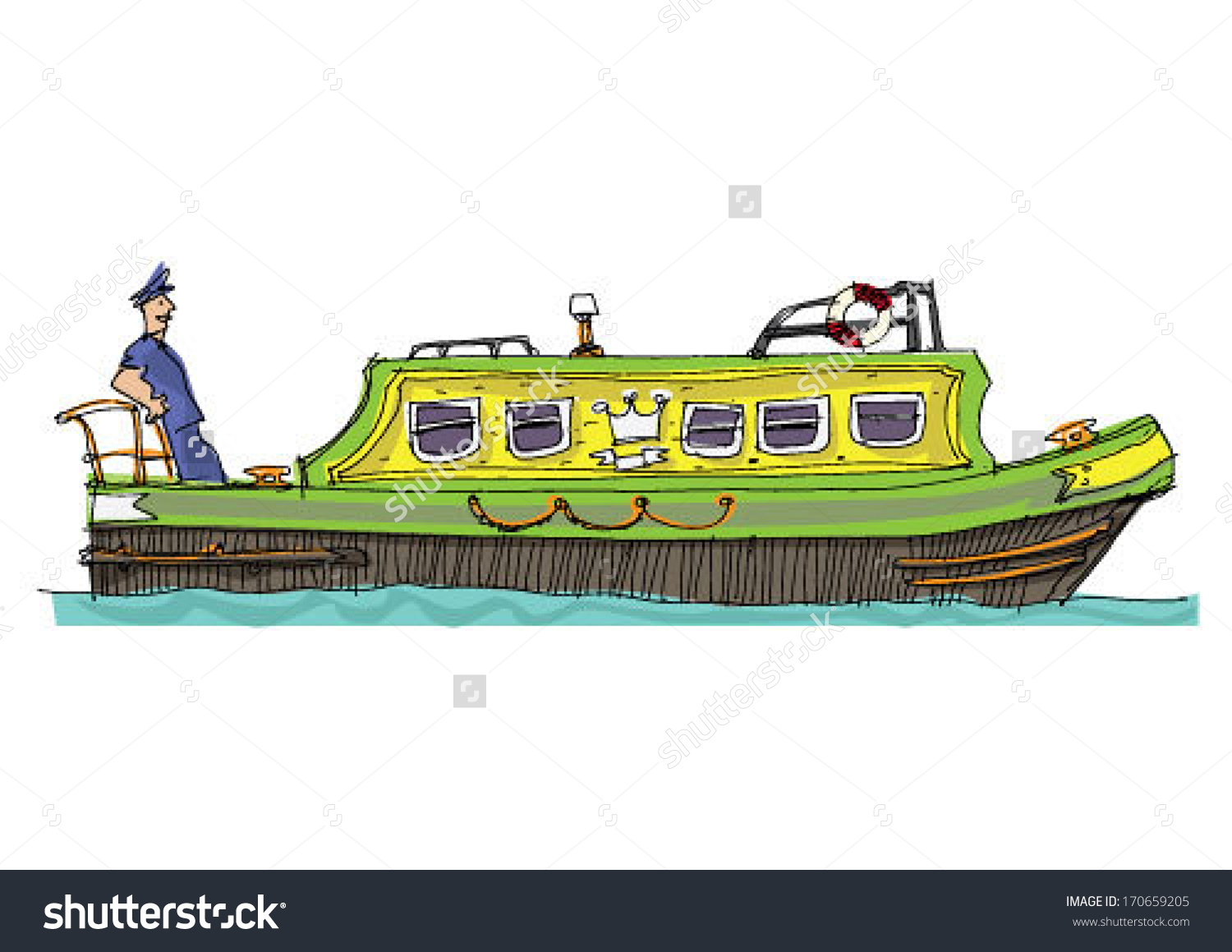 Leisure Barge Cartoon Stock Vector 170659205.