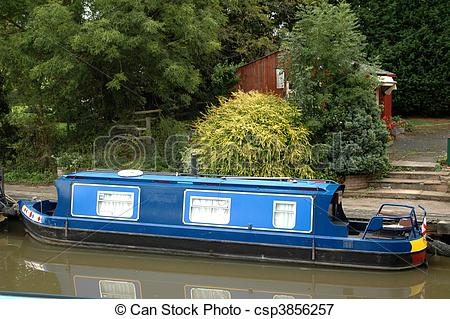 Picture of Blue canal barge.