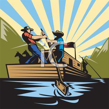 Vintage Style Men on a River Barge.