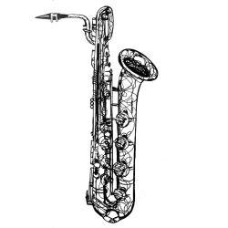 daily drawing, week 8 saxophone 5: baritone.