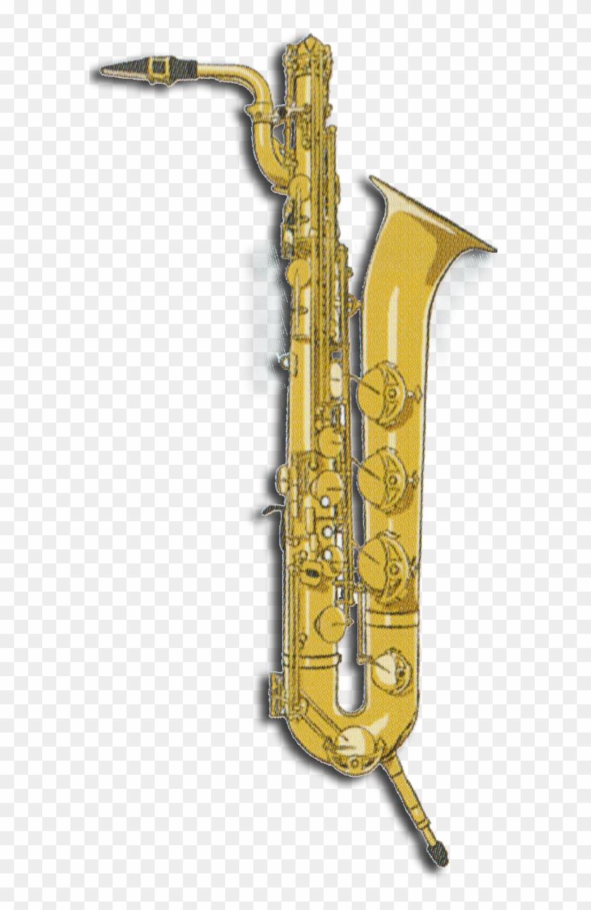 Clip Black And White Baritone Saxophone.