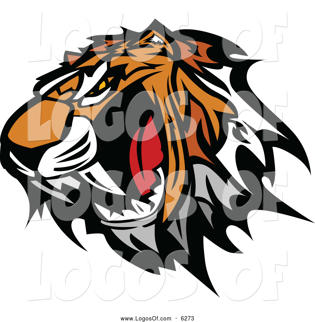Vector Clipart of a Furious Tiger Mascot Head Baring Teeth by.