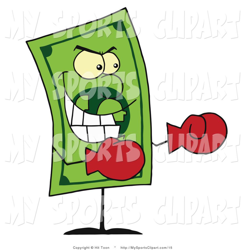 Sports Clip Art of a Dollar Bill Wearing Red Boxing Gloves and.