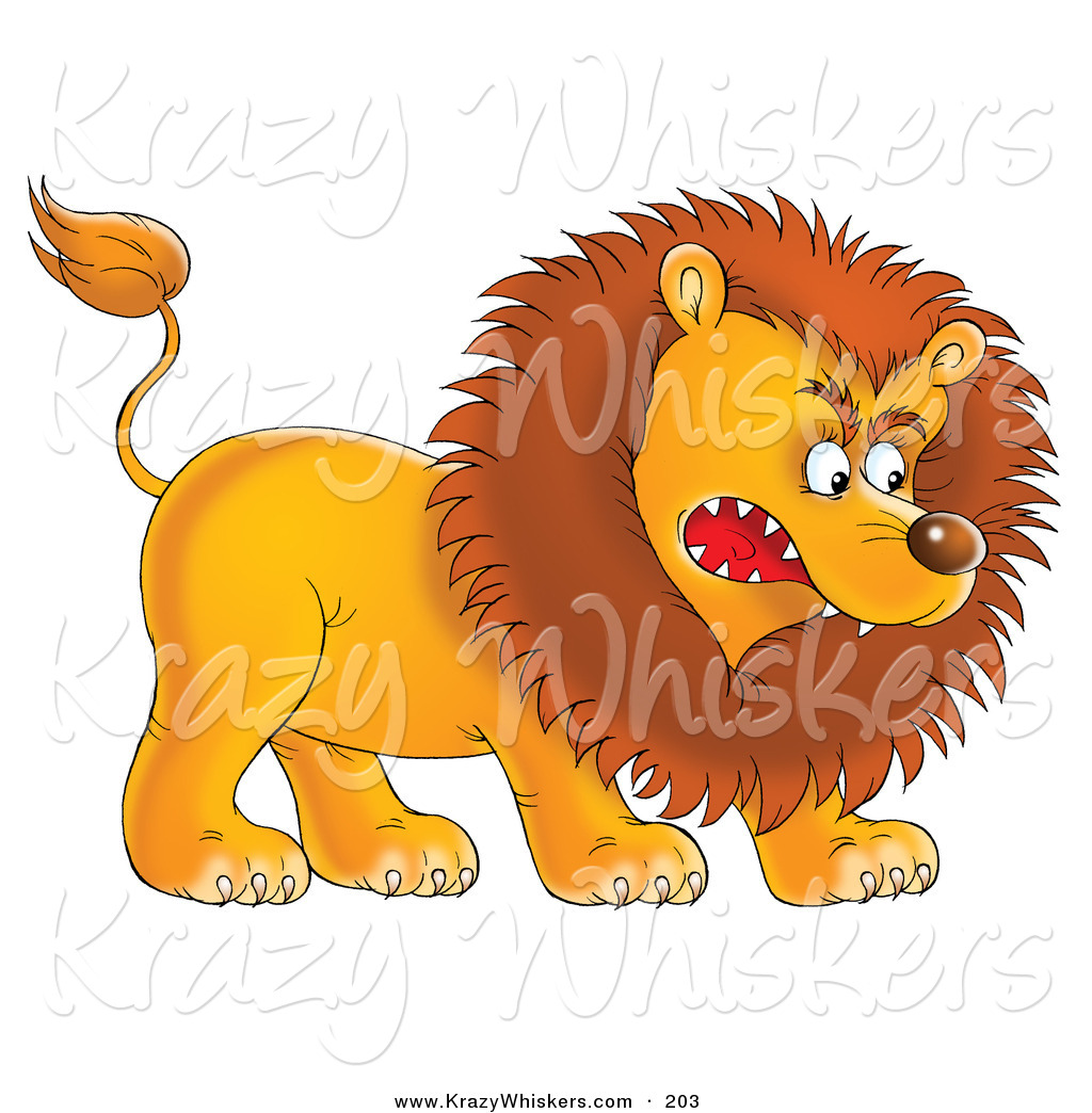 Critter Clipart of a Fearsome Aggressive Young Male Lion Growling.