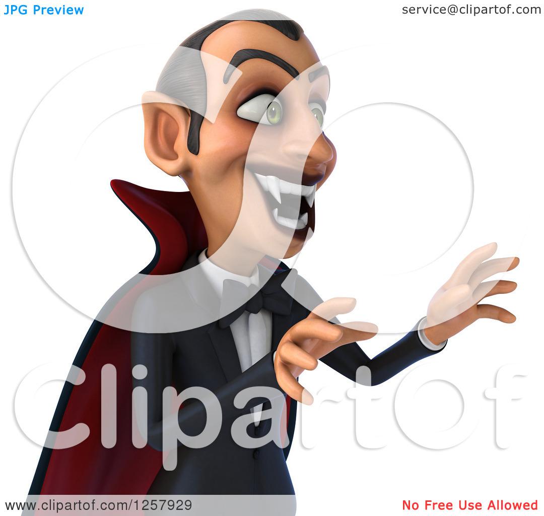 Clipart of a 3d Attacking Dracula Vampire Baring His Fangs.