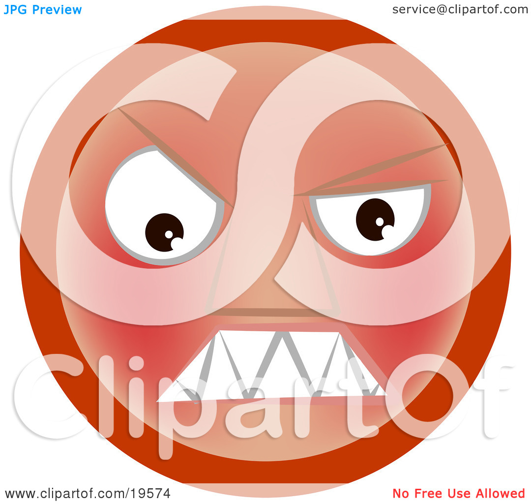 Clipart Illustration of a Furious Red Emoticon Face Baring its.