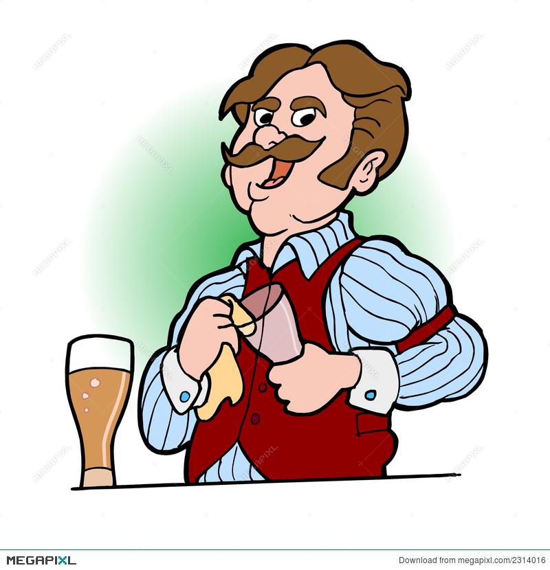 Bartender Cartoon 02 Illustration 2314016.