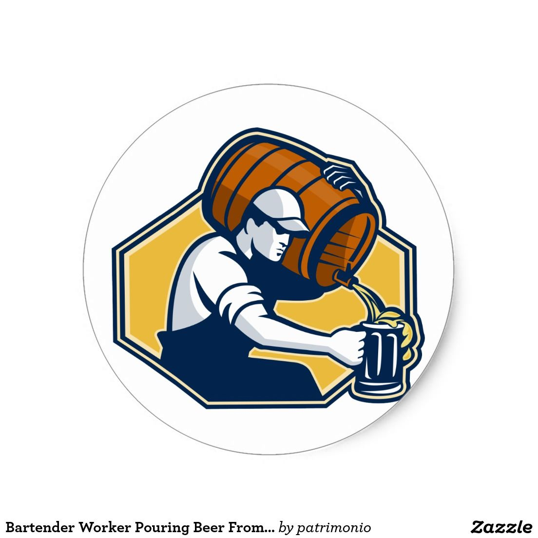 Bartender Worker Pouring Beer From Barrel To Mug Classic.