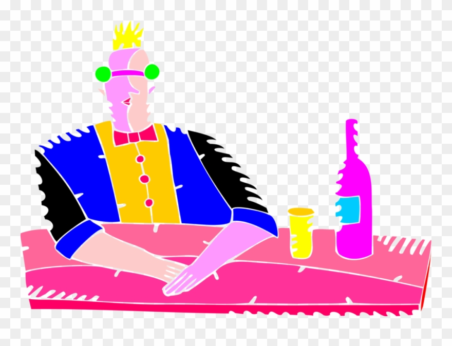 Vector Illustration Of Bar Keeper Bartender Barkeep Clipart.