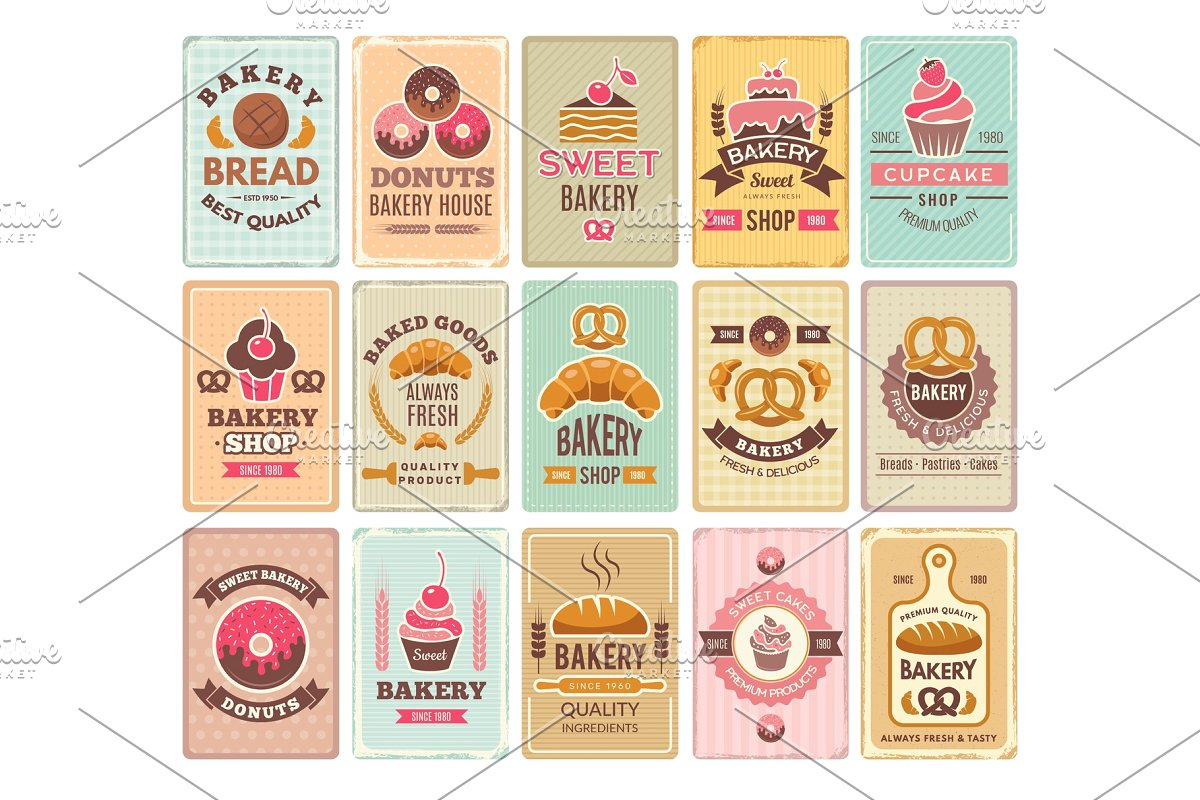 Vintage bakery cards. Delicious.