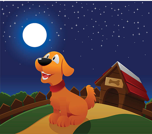 Best Dog Barking At The Moon Illustrations, Royalty.