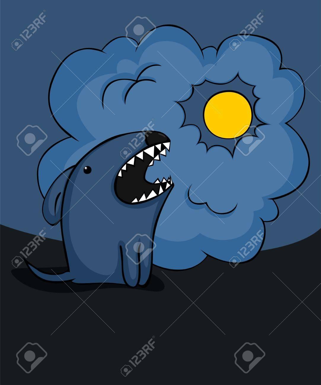 Spooky cartoon dog barking at the moon..