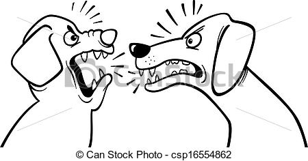 Clip Art Vector of angry barking dogs coloring page.