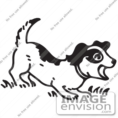 Clipart Of A Barking Puppy In Black And White.