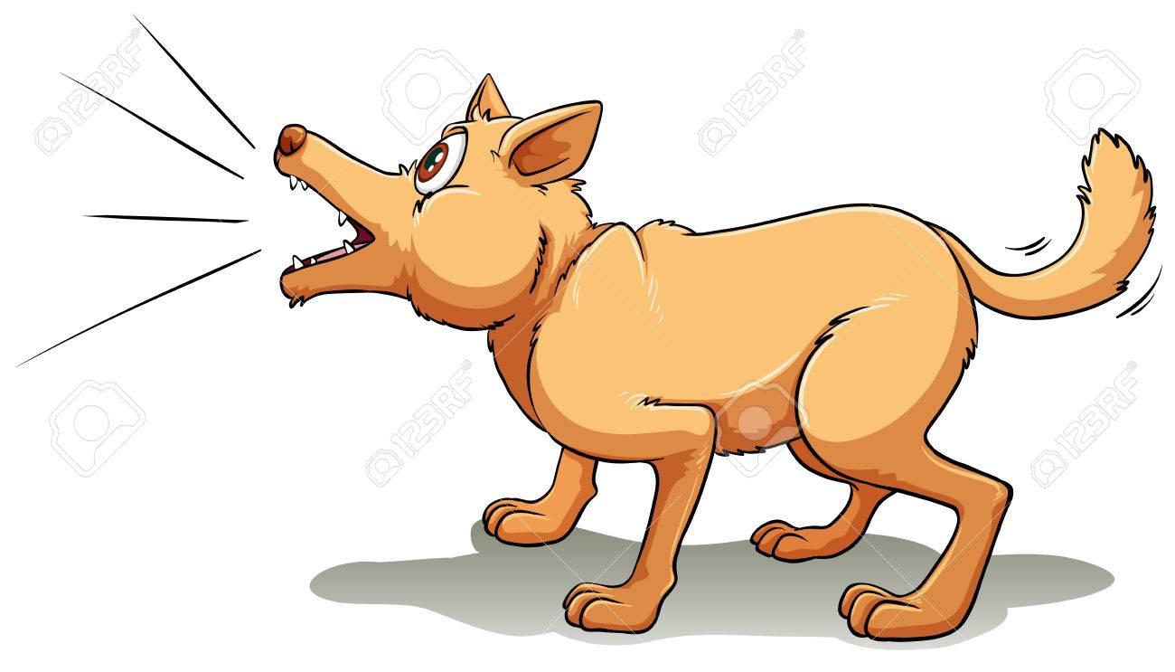A brown dog barking upwards.