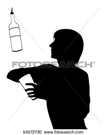 Clipart of silhouette of barman k5576721.