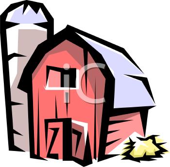 barn with a silo\