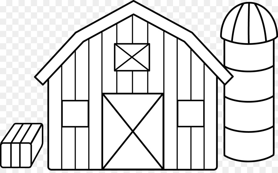 Black And White Farm Barn Silo Clip Art #175141.