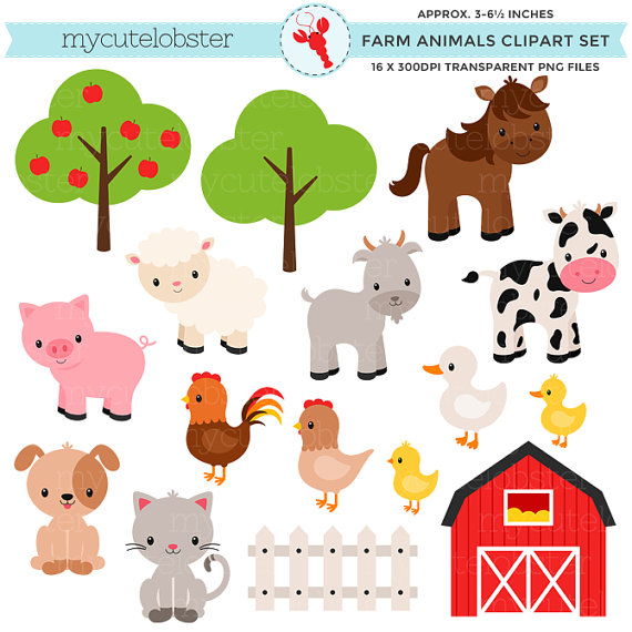 Barn With Animals Clipart.