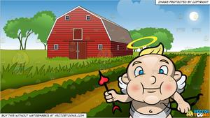 A Flying Blue Eyed Cupid and Farm Field And Barn Background.